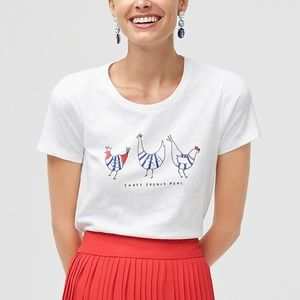 J. crew French hens graphic tee chickens sz XXS